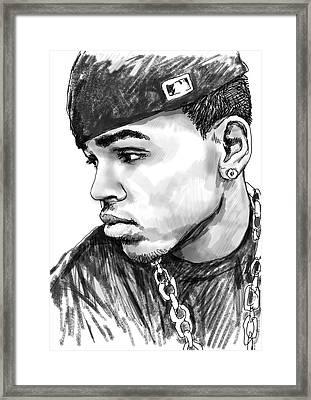 Chris Brown Art Drawing Sketch Portrait Framed Print by Kim Wang