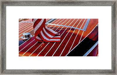 Chris Craft With American Flag Framed Print by Michelle Calkins