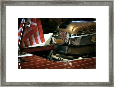 Chris Craft With Johnson Motor Framed Print by Michelle Calkins