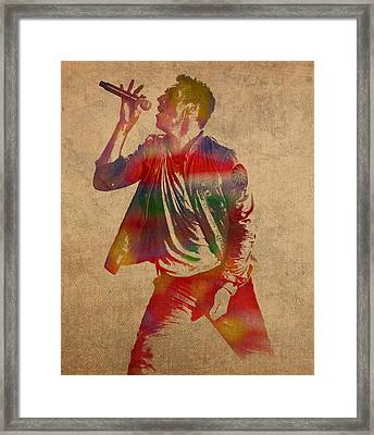 Chris Martin Coldplay Watercolor Portrait On Worn Distressed Canvas Framed Print by Design Turnpike