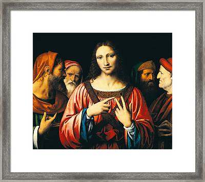 Christ Among The Doctors Framed Print by Bernardino Luini