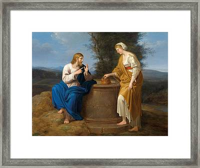 Christ And The Good Samaritan At The Well Framed Print by Ferdinand Georg Waldmueller