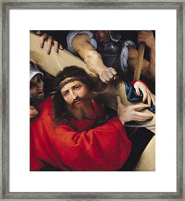Christ Carrying The Cross, 1526 Oil On Canvas Framed Print by Lorenzo Lotto