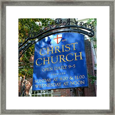 Christ Church Sign Framed Print by Stephen Stookey