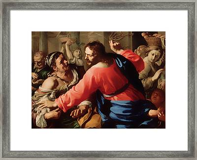 Christ Cleansing The Temple Framed Print by Mountain Dreams