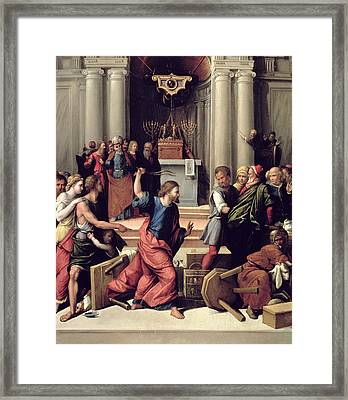 Christ Driving The Money-changers From The Temple Panel Framed Print by Benvenuto Tisi da Garofalo