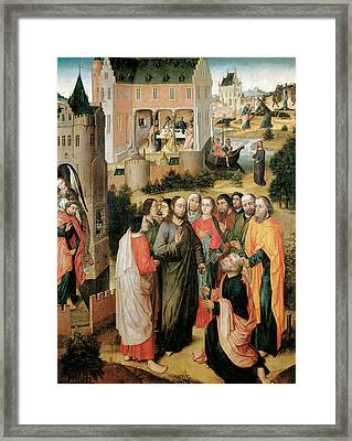 Christ Handing The Keys To St Peter Framed Print by Master of the Legend of the Holy Prior