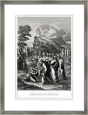 Christ Healing A Leper Framed Print by National Library Of Medicine