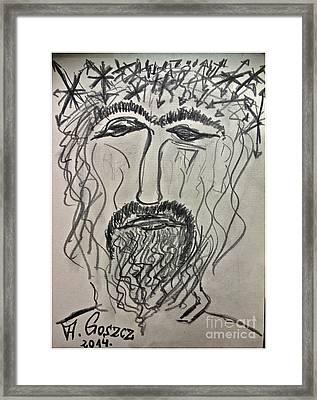 Christ In Distress. Pensive Christ. Chrystus Frasobliwy. By Andrzej Goszcz. Framed Print by  Andrzej Goszcz
