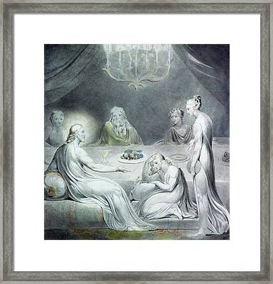 Christ In The House Of Martha And Mary Or The Penitent Magdalene Framed Print by William Blake