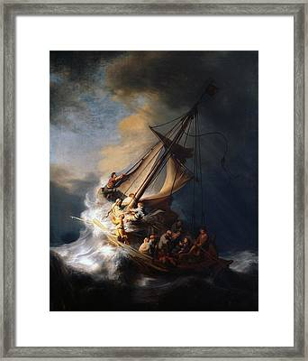 Christ In The Storm On The Sea Of Galilee Framed Print by Rembrandt van Rijn