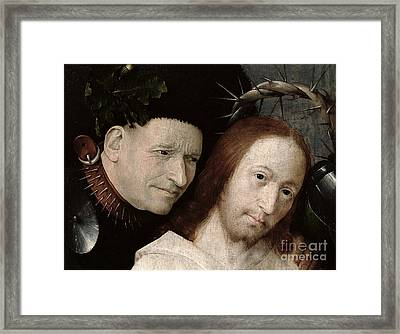 Christ Mocked The Crowning With Thorns C.1490-1500 Oil On Panel Detail Of 29114 Framed Print by Hieronymus Bosch