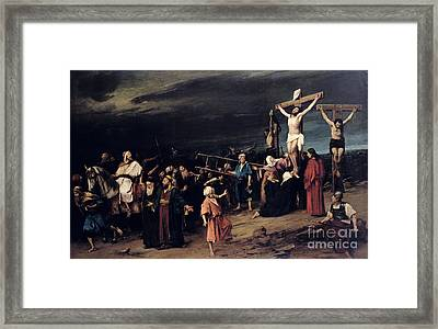 Christ On The Cross Framed Print by Mihaly Munkacsy