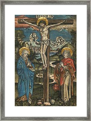 Christ On The Cross With Mary And Saint John Framed Print by German School
