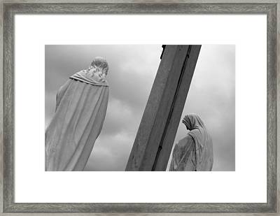Christ On The Cross With Mourners Evansville Indiana 2008 Framed Print by John Hanou