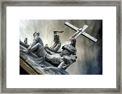 Christ On The Cross With Mourners Saint Joseph Cemetery Evansville Indiana 2006 Framed Print by John Hanou