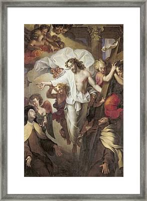 Christ Resurrected Between St Teresa Of Avila Framed Print by Michel des Gobelins Corneille