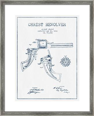Christ Revolver Patent Drawing From 1866 -  Blue Ink Framed Print by Aged Pixel
