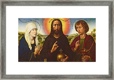 Christ The Redeemer With The Virgin And St. John The Evangelist, Central Panel From The Triptych Framed Print by Rogier van der Weyden
