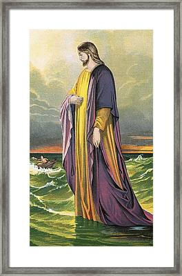 Christ Walking On Water Framed Print by English School
