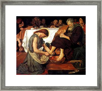 Christ Washing Peter's Feet Framed Print by Ford Madox Brown