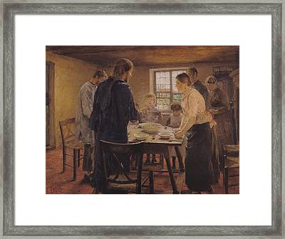 Christ With The Peasants Framed Print by Fritz von Uhde