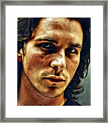 Christian Bale Portrait Framed Print by Florian Rodarte
