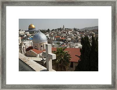 Christian Rooftop Cross And Silver Framed Print by Dave Bartruff