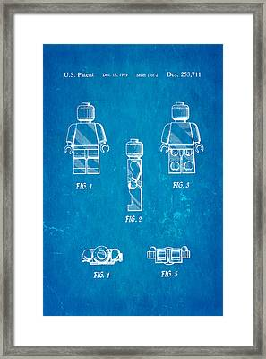 Christiansen Lego Figure 2 Patent Art 1979 Blueprint Framed Print by Ian Monk