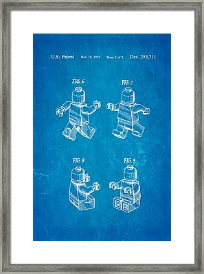 Christiansen Lego Figure 3 Patent Art 1979 Blueprint Framed Print by Ian Monk