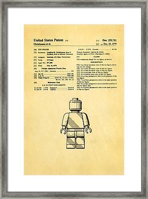Christiansen Lego Figure Patent Art 1979 Framed Print by Ian Monk