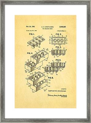 Christiansen Lego Toy Building Block Patent Art 1961 Framed Print by Ian Monk