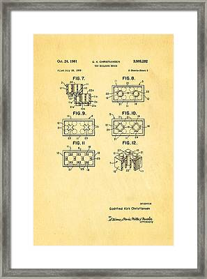 Christiansen Lego Toy Building Block Patent Art 2 1961 Framed Print by Ian Monk