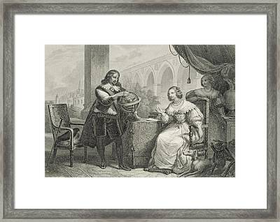 Christina Queen Of Sweden Framed Print by Charles Abraham Chasselat