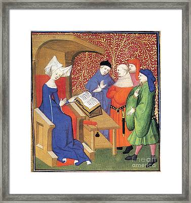 Christine De Pizan Lecturing To Men Framed Print by Photo Researchers