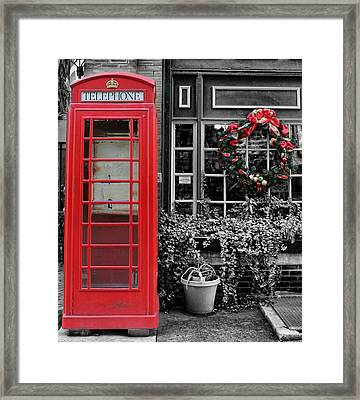 Christmas - The Red Telephone Box And Christmas Wreath IIi Framed Print by Lee Dos Santos