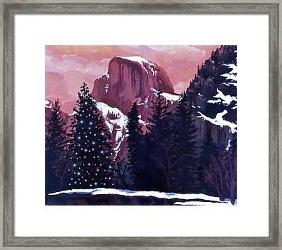 Christmas At Half Dome Framed Print by Sara Coolidge