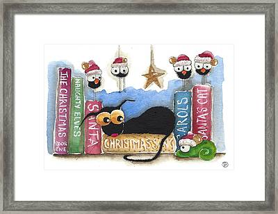 Christmas Book Shelf Framed Print by Lucia Stewart
