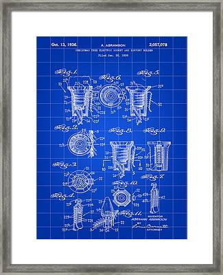 Christmas Bulb Socket Patent 1936 - Blue Framed Print by Stephen Younts