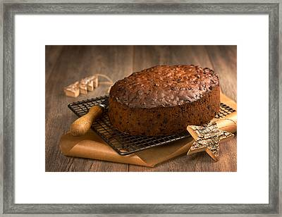 Christmas Cake With Knife Framed Print by Amanda And Christopher Elwell