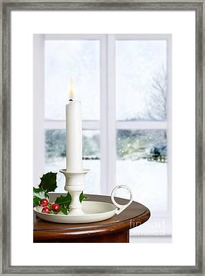 Christmas Candle Framed Print by Amanda Elwell