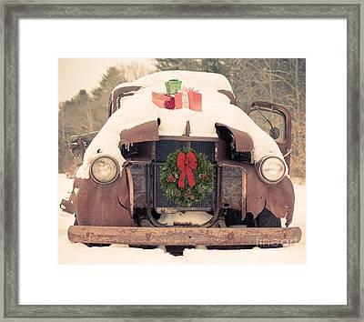 Christmas Car Card Framed Print by Edward Fielding