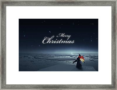 Christmas Card - Penguin Black Framed Print by Cassiopeia Art