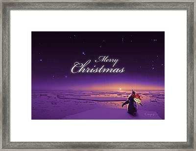 Christmas Card - Penguin Purple Framed Print by Cassiopeia Art