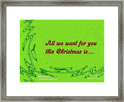Christmas Cards And Artwork Christmas Wishes 21 Framed Print by Gert J Rheeders