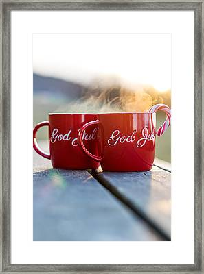 Christmas Coffee Cup With Candy Cane I Framed Print by Aldona Pivoriene