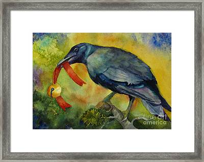 Christmas Corvus Framed Print by Judi Nyerges