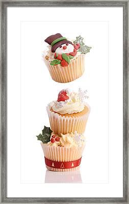 Christmas Cupcake Tower Framed Print by Amanda Elwell