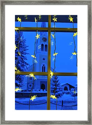 Christmas Decoration - Yellow Stars And Blue Church Framed Print by Matthias Hauser