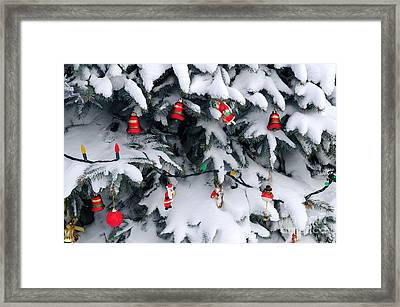 Christmas Decorations In Snow Framed Print by Elena Elisseeva